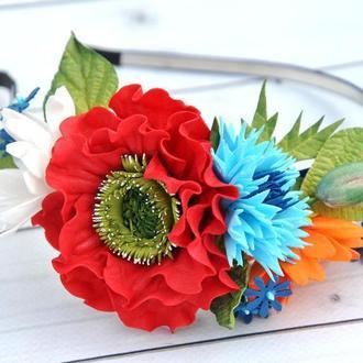 Обруч с красным маком ромашками и васильками Ободок под вышиванку
