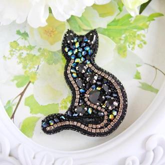 """брошь """"Черная кошка"""". Подарок-сувенир. Подарок внучке. Подарок дочке."""