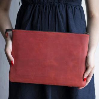 Кожаный чехол для Macbook на молнии красный