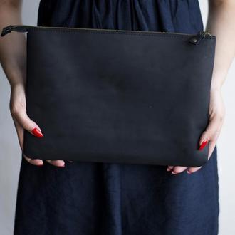 Кожаный черный чехол для Macbook на молнии