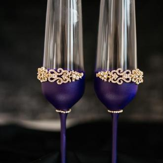 Свадебные бокалы Индиго 2 шт. Фужеры на свадьбу в фиолетовом цвете в декором из страз