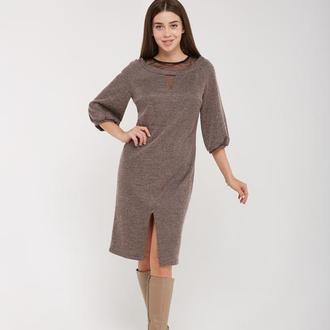 Стильное платье Лакоста пудра и серое.