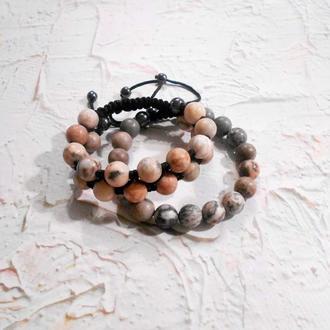 Набор браслетов в стиле Шамбала из яшмы