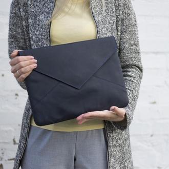 Кожаный синий чехол для ноутбука в форме конверта