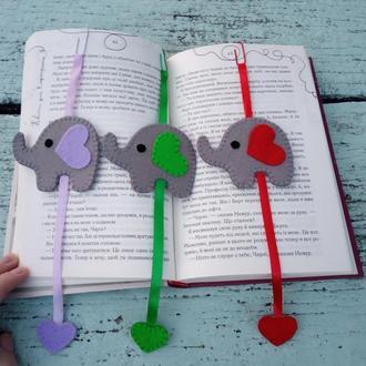 Закладки для книг з фетру, слоники з фетру