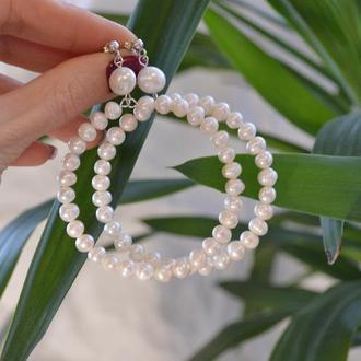Серебряные серьги-кольца из речного жемчуга ′Фортуна′