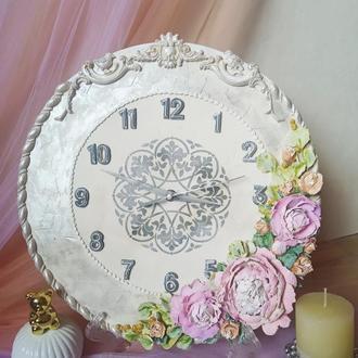 """Часы настенные """"Пионы с миниатюрными персиковыми розами"""", бесшумный механизм"""
