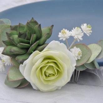 Свадебный гребень для волос с цветами и листьями эвкалипта,суккулентом и гипсофилой