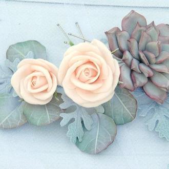 Набір шпильок з квітами для нареченої шпильки з евкаліптом пудовими трояндами і суккулентом