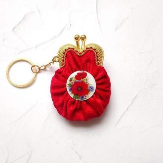 Красный Брелок Червоний Міні-гаманець Маки Мини-кошелек Футляр для украшений Минисумка