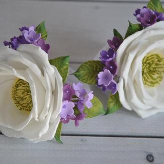 Резинки для волос с цветами Украшение в волосы для девочки с белыми  фиолетовыми цветами