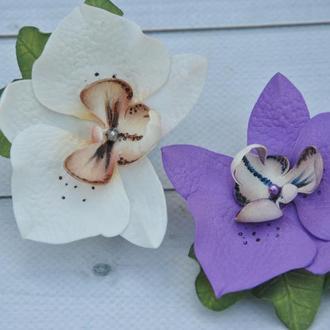 Заколки орхидеи белые фиолетовые