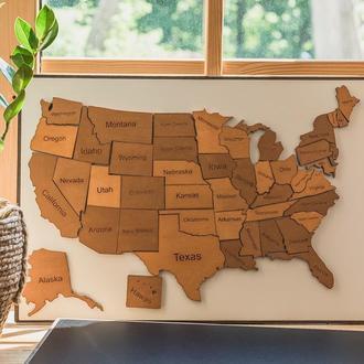Деревянная магнитная карта США (на английском языке)
