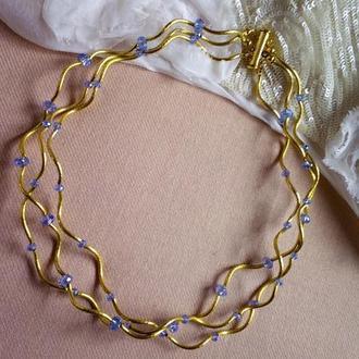 Оригинальное ожерелье, цепочка с хрустальными бусинами на магнитной застежке