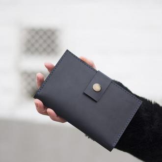 Стильный кожаный бумажник на кнопке синий