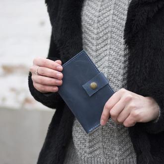 Стильный кожаный бумажник на кнопке голубой
