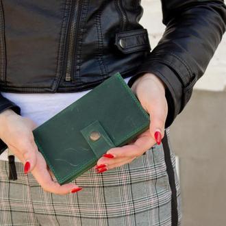 Стильный кожаный бумажник на кнопке зеленый