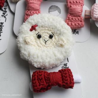 Набір заколок в'язана овечка бантик подарунок дівчинці Набор детских заколок подарок девочке
