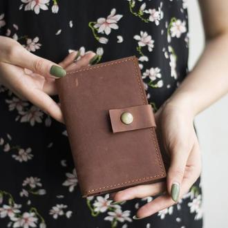 Стильный кожаный бумажник на кнопке