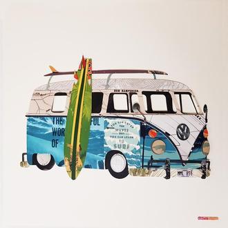 "Объемная 3d картина-коллаж ""Серфинг автобус Volkswagen Camper"""