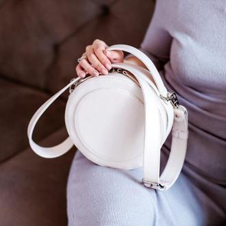 Круглая сумка из натуральной кожи STITCH