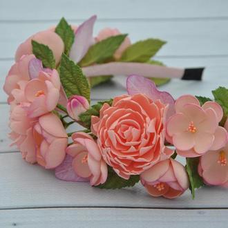Обруч с персиковыми пионами и цветами яблони Ободок на голову для девочки