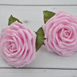 Розовые розы резинки для волос Резинки детские с цветами