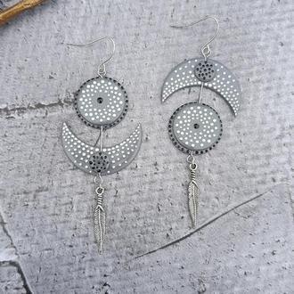Серьги Лунница асимметричные