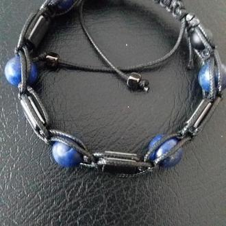 Мужской браслет Шамбала камни лазурит, шунгит, лава
