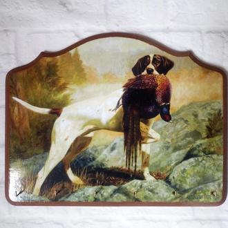 Декоративная настенная ключница в прихожую Охота на фазана Английский пойнтер Подарок охотнику