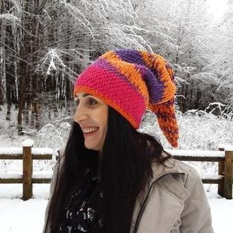 Шапка ,,Петрушка,, Яркая шапочка Разноцветная женская шапка зимняя