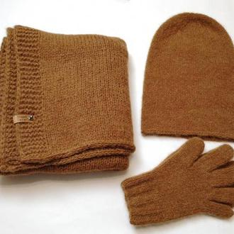 Набор вязаный альпака шапка шарф перчатки
