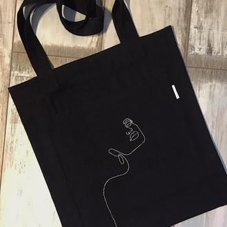 Хлопковая сумка шоппер с карманом