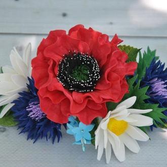 Комплект шпильок з польовими квітами під вишиванку Шпильки для волосся в українському стилі