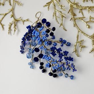 Синяя хрустальная веточка для волос из бусин