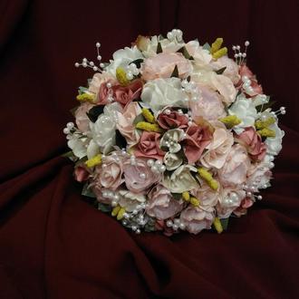 Свадебный букет-дублер пудровый с темно-розовым
