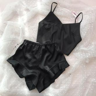 Черная женская пижама из шелка, пижама для сна