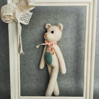 Мягкая игрушка. Вязаный белый медведь. интерьерная игрушка.