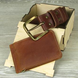 Мужской кожаный ремень , кожаный зажим для денег , подарочный набор мужчине