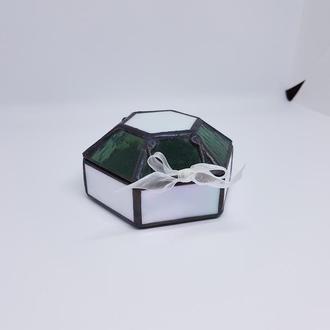 Витражная шкатулка для свадебных колец или украшений