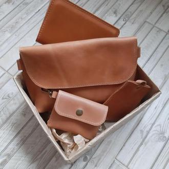 Набор аксессуаров из натуральной кожи (сумка, ключница, картхолдер/визитница, обложка для блокнота)