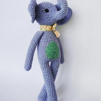 Мягкая игрушка голубой слоник. Подарок ребенку. Украшение детской