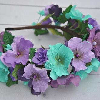 Обруч с анютиными глазками Фиолетовые бирюзовые цветы на ободке для девочки