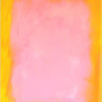 Картина Зефирка, Желтый и Розовый, живопись, масло, холст, галерейная натяжка, 70х90 см