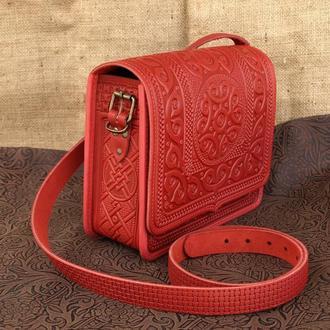 сумка кожаная Барашки красные