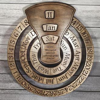 Деревянный бесконечный календарь с вашим текстом, логотипом