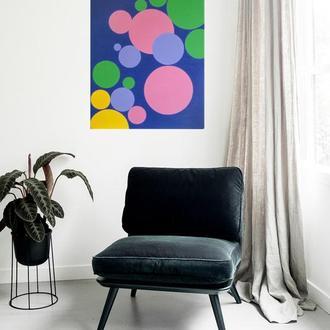 Картина Шарики с разноцветным счастьем, 60х70 см, холст, масло, галерейная натяжка, на подарок!