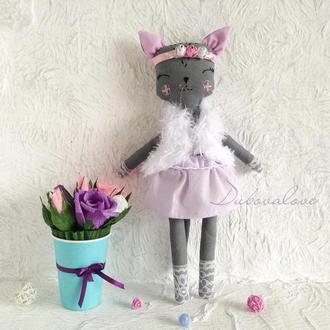 Кукла кошка . Высота 35 см. Мягкая игрушка кошка.