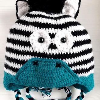 Теплая двойная вязаная шапка Зебра для мальчика
