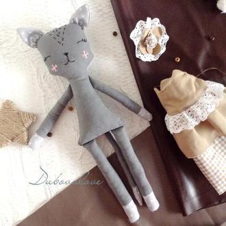 Кукла кошка ретро шик. Высота 35 см. Мягкая игрушка кошка.